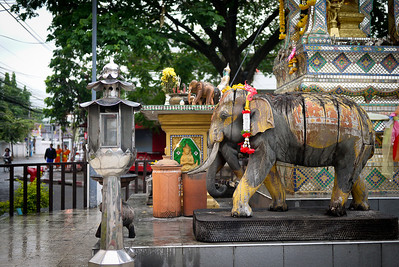 An elephant and a spirit house in Chiang Mai, Thailand