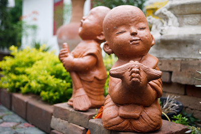 A wai from a monk statue in Chiang Mai, Thailand