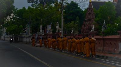 Dawn alms in Chiang Mai, Thailand