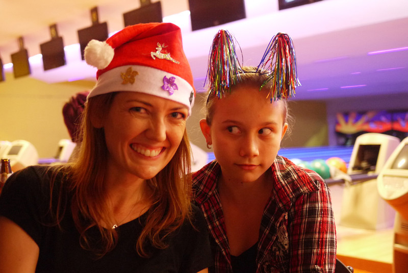 Ana and I were the only two with cheery Christmas hats.