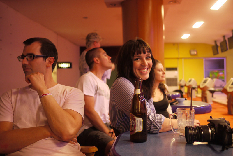 Shawna at the bowling alley on Christmas Eve.