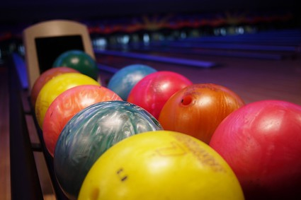 Colorful bowling balls at Lanna bowling in Chiang Mai, Thailand.