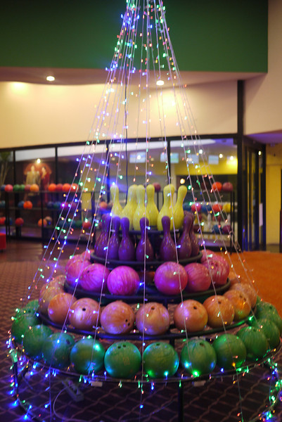 A  bowling ball Christmas tree!