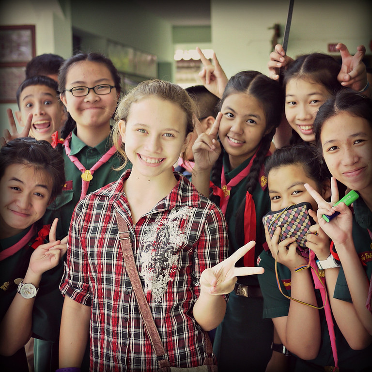 Ana with some Thai students excited to meet her in Chiang Mai, Thailand.