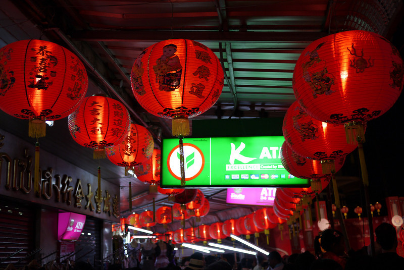 Red Chinese lanterns line the streets for the Chinese New Year festivities in Chiang Mai, Thailand.