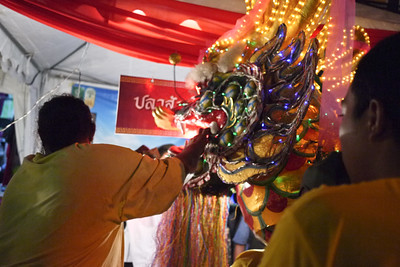 Donating baht to the dragon for good luck at the Chinese New Year festivities in Chiang Mai, Thailand.