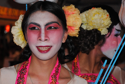 Fun Thai ladyboy in makeup at the Chinese New Year festivities in Chiang Mai, Thailand.
