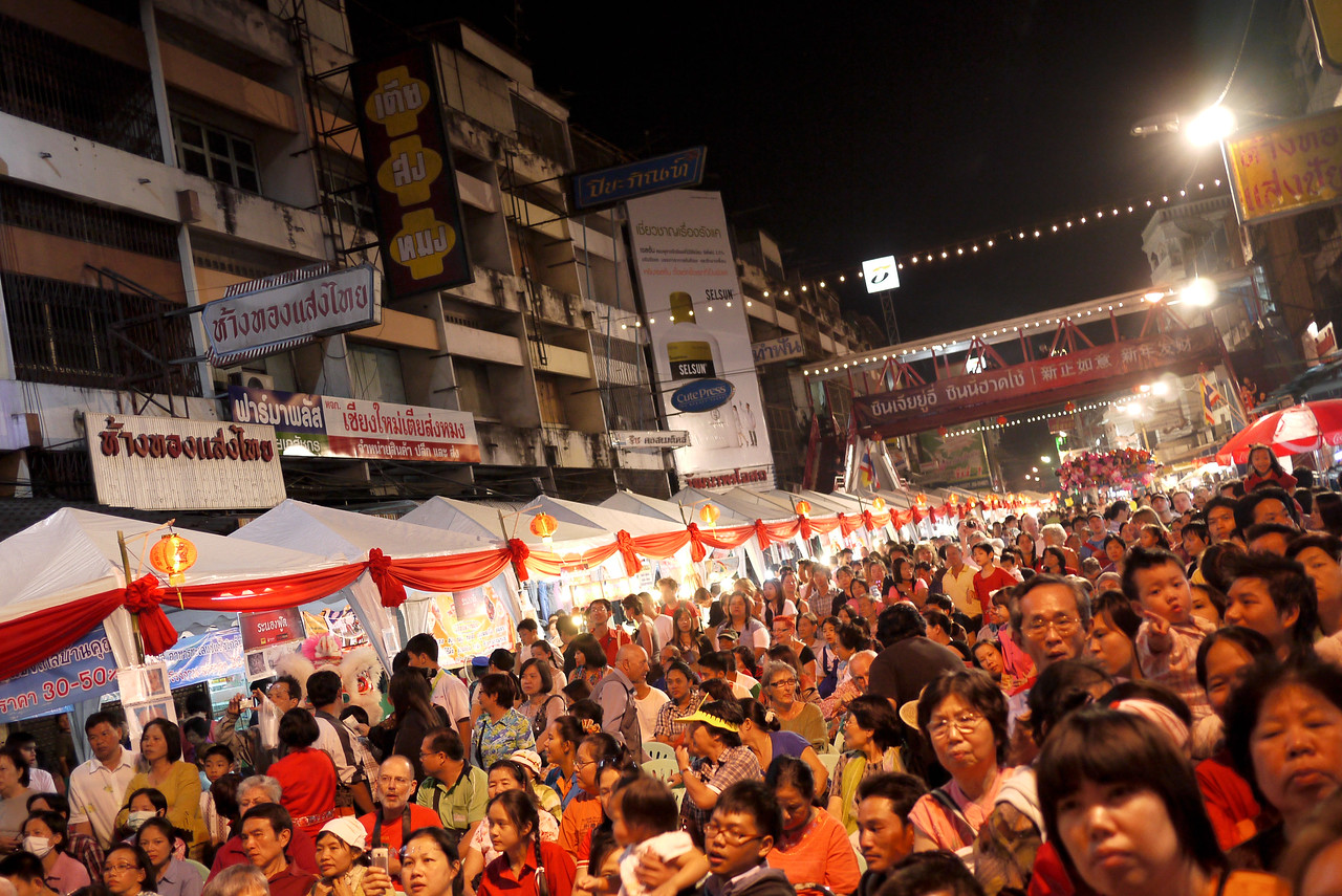 Massive crowds watch the show at the Chinese New Year festivities in Chiang Mai, Thailand.
