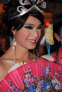 Dancers pose offstage at the Chinese New Year festivities in Chiang Mai, Thailand.