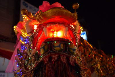 Lite up dragons at the Chinese New Year festivities in Chiang Mai, Thailand.