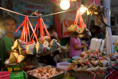 Food stall preparations at the Chinese New Year festivities in Chiang Mai, Thailand.