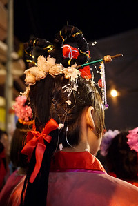 Dancer's ornate hair designs at the Chinese New Year festivities in Chiang Mai, Thailand.