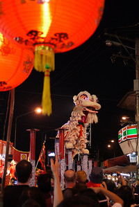 Dragon performance at the Chinese New Year festivities in Chiang Mai, Thailand.