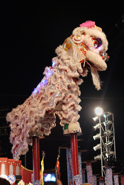 Standing tall and proud, the dragon show at the Chinese New Year festivities in Chiang Mai, Thailand.