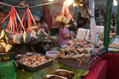 Food stalls at the Chinese New Year festivities in Chiang Mai, Thailand.