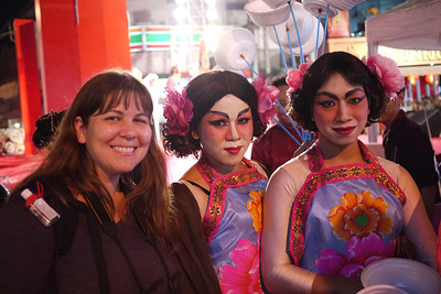 Claire and the Ladyboys at the Chinese New Year festivities in Chiang Mai, Thailand.