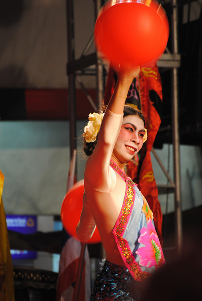 Happy dancer at the Chinese New Year festivities in Chiang Mai, Thailand.