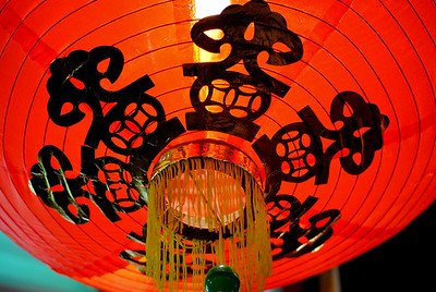 Red Chinese lantern at the Chinese New Year festivities in Chiang Mai, Thailand.