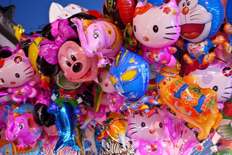 Huge bouquet of balloons at the Chinese New Year festivities in Chiang Mai, Thailand.