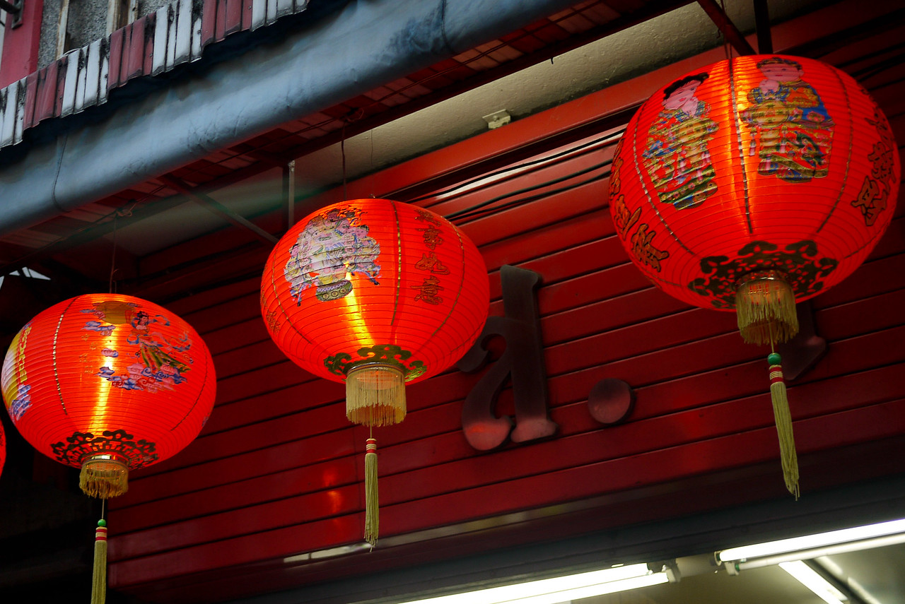 Classic red Chinese lanterns at the Chinese New Year festivities in Chiang Mai, Thailand.