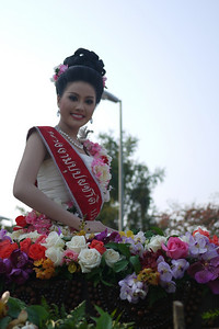 One of the crowned winners of the pageant at the Chiang Mai Flower Festival, Thailand
