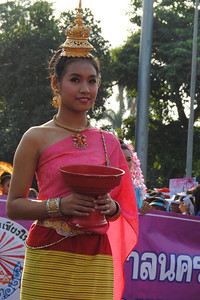 Women in the parade for the Chiang Mai Flower Festival, Thailand