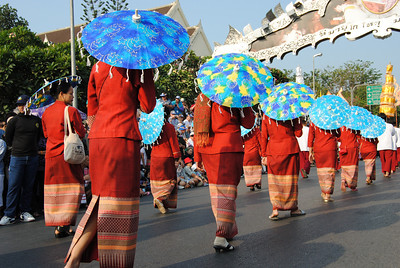 Decorative umbrellas were a big accessory at the Chiang Mai Flower Festival, Thailand