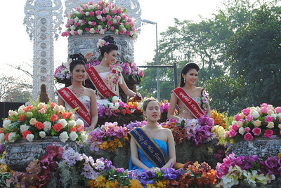 Beauty pageant contestants at the Chiang Mai Flower Festival, Thailand