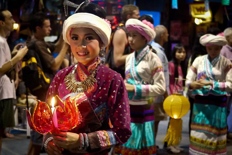 Loy Krathong parade in Chiang Mai, Thailand
