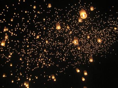 Lantern release at Loy Krathong in Chiang Mai, Thailand