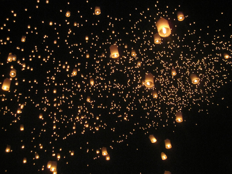 Lantern release at Loy Krathong in Chiang Mai, Thailand
