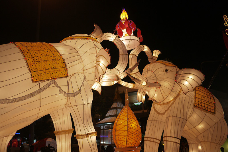 Elephant lanterns during Loy Krathong in Chiang Mai, Thailand