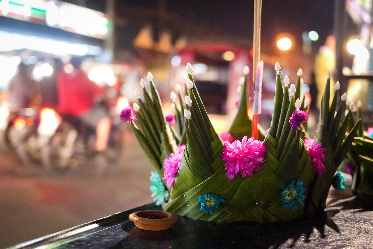 Krathongs are for sale throughout the city during Loy Krathong in Chiang Mai, Thailand