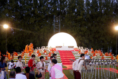 The monks prepare for chanting and meditation during Loy Krathong in Chiang Mai, Thailand