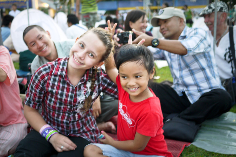 Ana and M enjoy the playing throughout the evening during Loy Krathong in Chiang Mai, Thailand