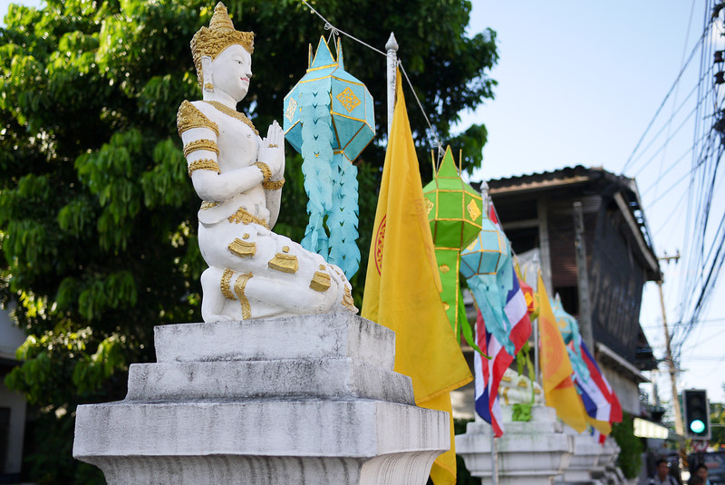 Yee Peng decorations during Loy Krathong in Chiang Mai, Thailand