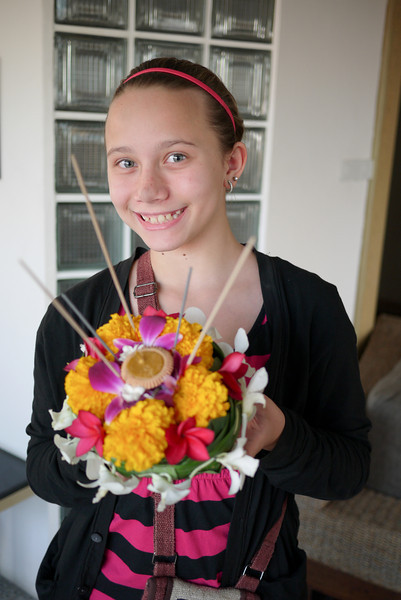Ana and the final product during Loy Krathong in Chiang Mai, Thailand