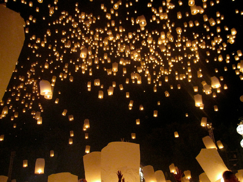 The sea of lanterns begin during Loy Krathong in Chiang Mai, Thailand