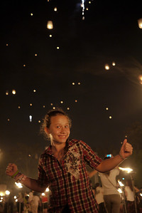 Ana does a little dance of joy during Loy Krathong in Chiang Mai, Thailand
