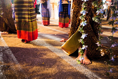 The womens feet as they parade through Chiang Mai for Loy Krathong, Thailand