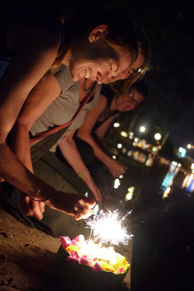 Prepping the krathongs for release during Loy Krathong in Chiang Mai, Thailand