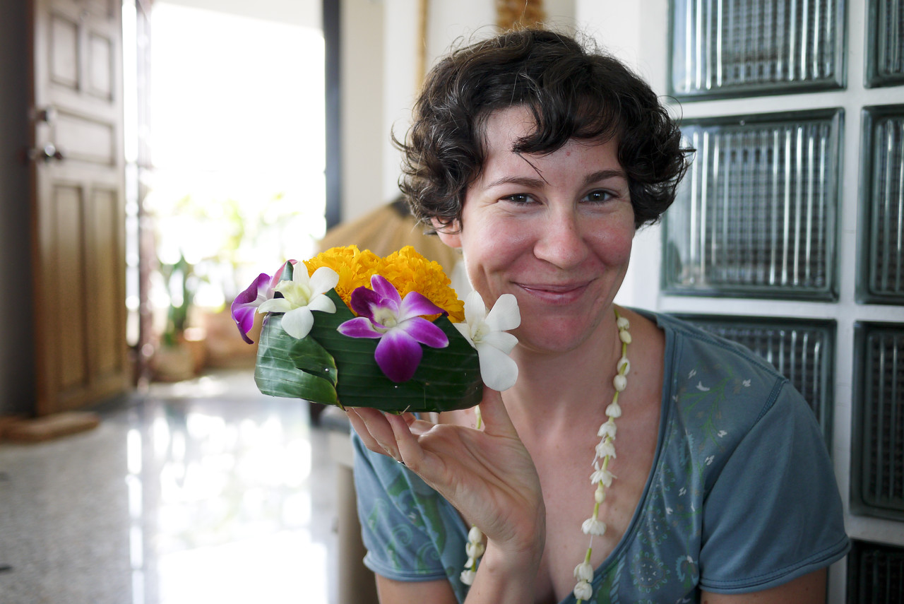 Catherine and her finished krathong for Loy Krathong festivities in Chiang Mai, Thailand