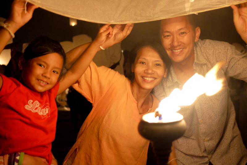 The GotPassport family during Loy Krathong in Chiang Mai, Thailand