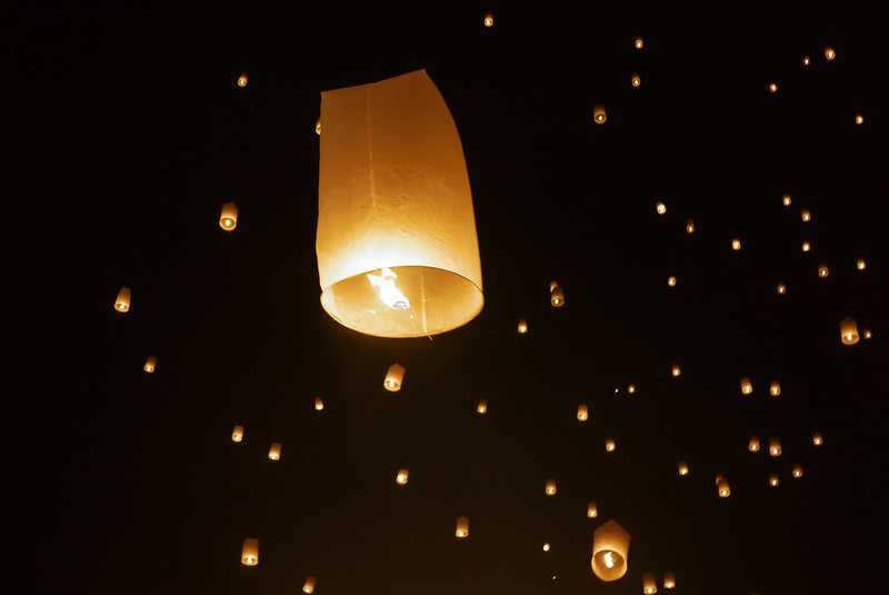 Lantern release during Loy Krathong in Chiang Mai, Thailand
