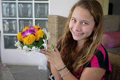 Ana and her meticulously crafted krathong during Loy Krathong in Chiang Mai, Thailand