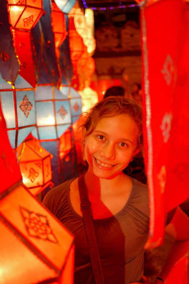 Ana with the pretty lanterns during Loy Krathong in Chiang Mai, Thailand
