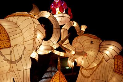 Creative lanterns during Yee Peng and Loy Krathong in Chiang Mai, Thailand