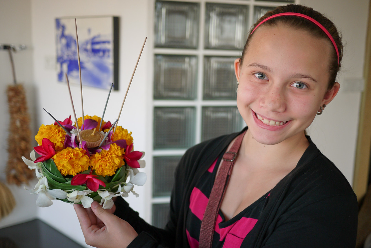 Ana and her krathong for Loy Krathong in Chiang Mai, Thailand