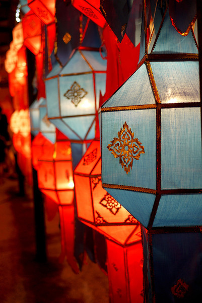 Colorful lanterns adorn the city of Chiang Mai, Thailand during Loy Krathong and Yee Peng festivities.