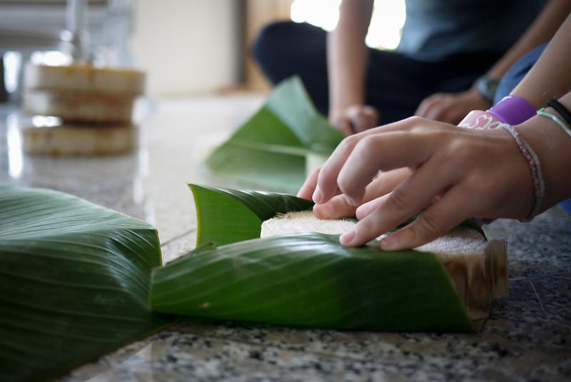 Making a handmade krathong for Loy Krathong in Chiang Mai, Thailand